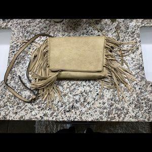 Beige Fringe Faux Leather Purse
